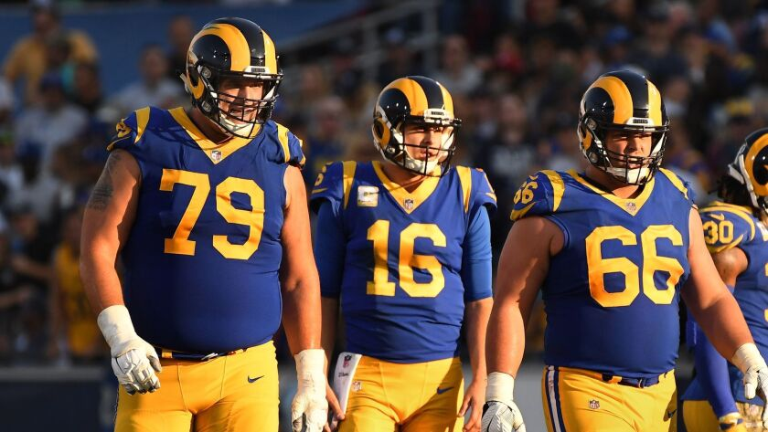 From left, Rams tackle Rob Havenstein with quarterback Jared Goff and Austin Blythe during a game Nov. 11, 2018.