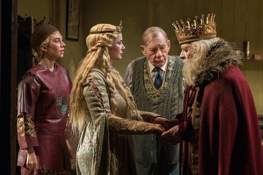"""Irene (Vanessa Kirby), left, Her Ladyship (Emily Watson), Norman (Ian McKellen) and Sir (Anthony Hopkins) in a scene from """"The Dresser."""""""