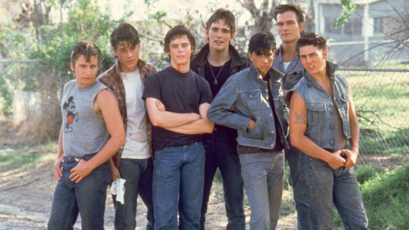 The 1983 film 'The Outsiders' starred, from left, Emilio Estevez (Two-Bit), Rob Lowe (Sodapop), C. Thomas Howell (Ponyboy), Matt Dillon (Dallas), Ralph Macchio (Johnny), Patrick Swayze (Darrel) and Tom Cruise (Steve).
