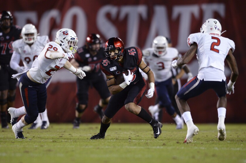 Aztecs wide receiver Jesse Matthews (45) runs with the ball while defended by Fresno State players last year.