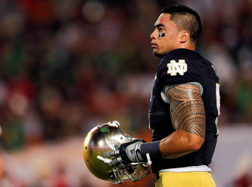 Manti Te'o of the Notre Dame Fighting Irish warms up before playing the Alabama Crimson Tide in the 2013 BCS National Championship game at Sun Life Stadium on Jan. 7, 2013, in Miami Gardens, Fla.