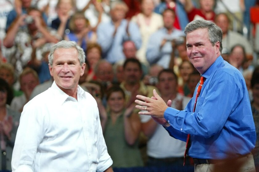 """FILE - In this Aug. 10, 2004 file photo, President George W. Bush, left, is introduced by his brother Florida Gov. Jeb Bush, right, at 'Ask President Bush' campaign rally, at Okaloosa-Walton Community College Gymnasium in Niceville, Fla. President George W. Bush is giving even odds to an attempt at a family legacy as part of the 2016 White House campaign, saying Sunday Nov. 9, 2014 on """"Face the Nation"""" on CBS his brother Jeb Bush is """"wrestling with the decision."""" (AP Photo/Pablo Martinez Monsivais, File)"""