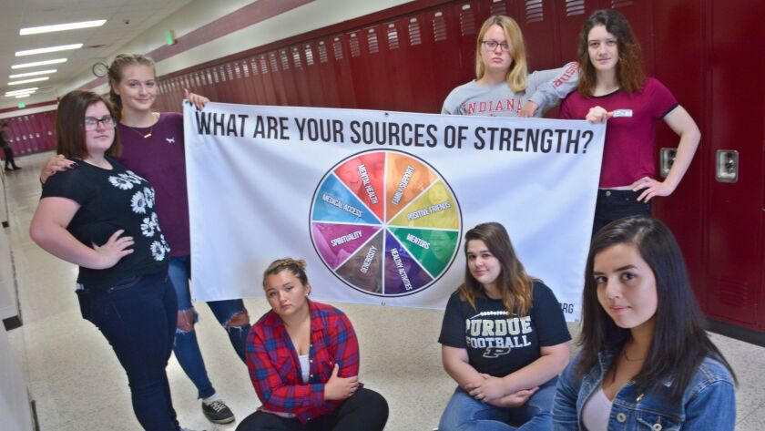 Student members of the Sources of Strength suicide prevention awareness program at Logansport High S