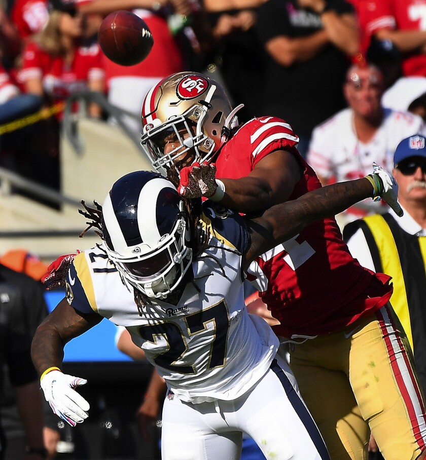 Darrell Henderson fumbles in an NFC West matchup against the 49ers, his final game of the season.