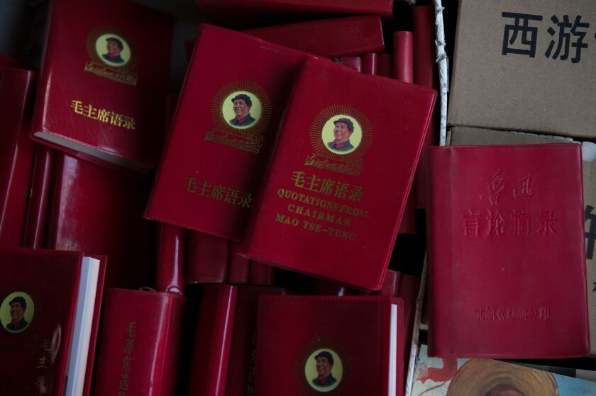 Little Red Books of quotations of the late Chinese Chairman Mao at a market in Beijing on Sunday.