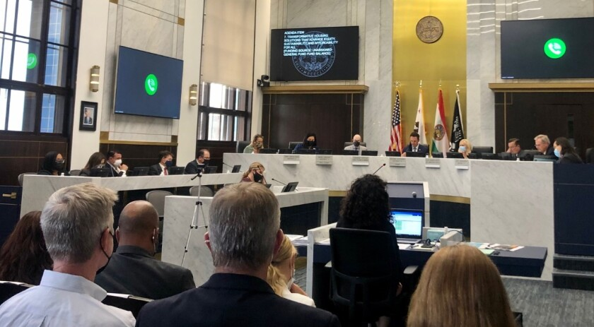 A recent San Diego County Board of Supervisors meeting in the County Administration Center.