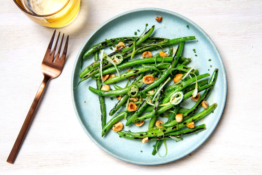 Charred Green Beans with Hazelnuts and Serrano Chiles