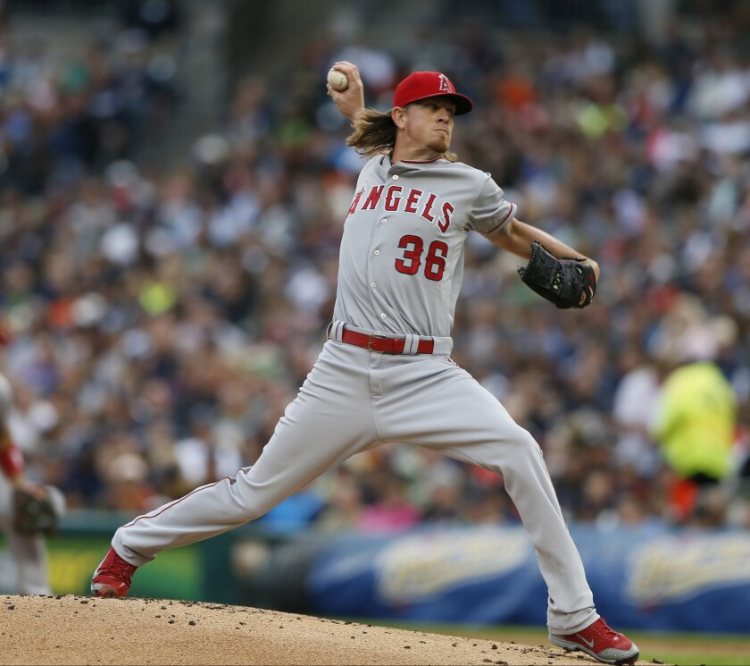 Angels right-hander Jered Weaver works in the first inning of a game Tuesday against the Detroit Tigers.