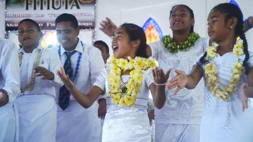 Once a year, the churches of American Samoa celebrate White Sunday, and all the children dress in wh