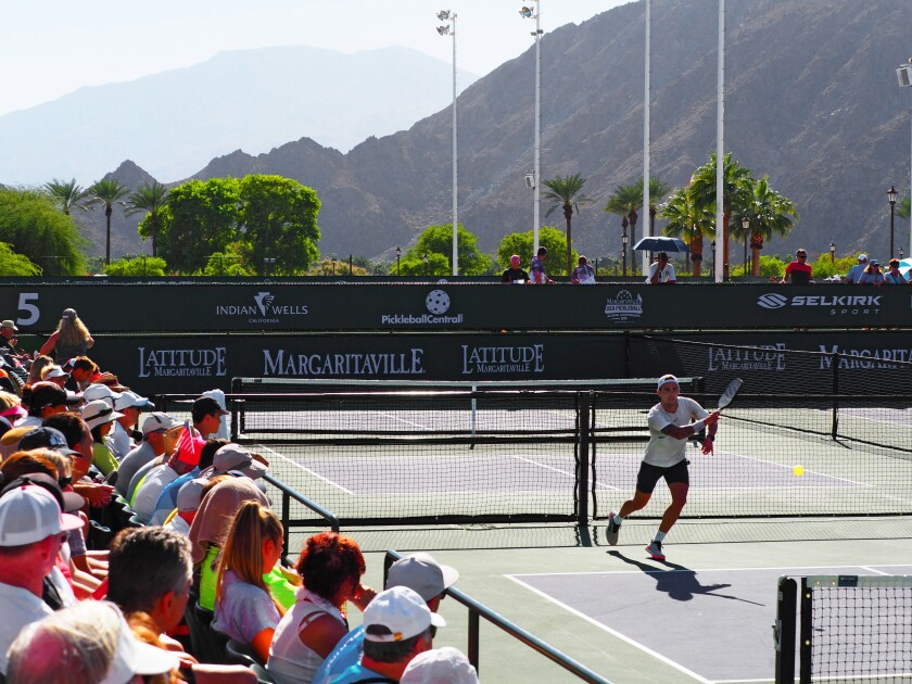 The 2018 USAPA National Championships Pickleball tournament at Indian Wells Tennis Garden. The 2019 championships will begin Nov. 2, also in Indian Wells.