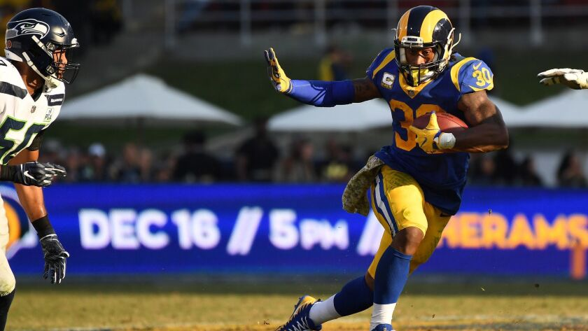 LOS ANGELES, CALIFORNIA NOVEMBER 11, 2018-Rams running backs from left, Todd Gurley, Malcolm Brown a