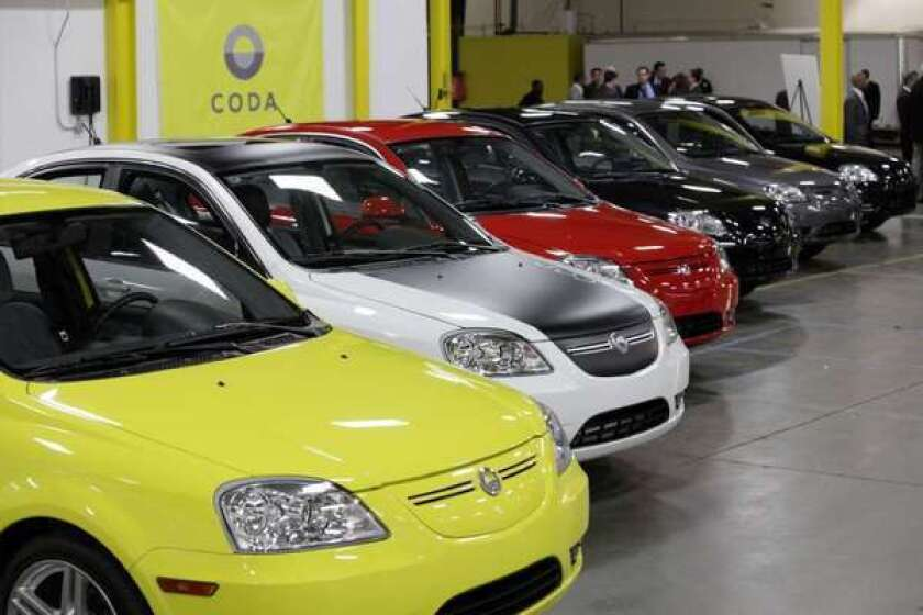 Electric car maker Coda files for bankruptcy, will go up for sale