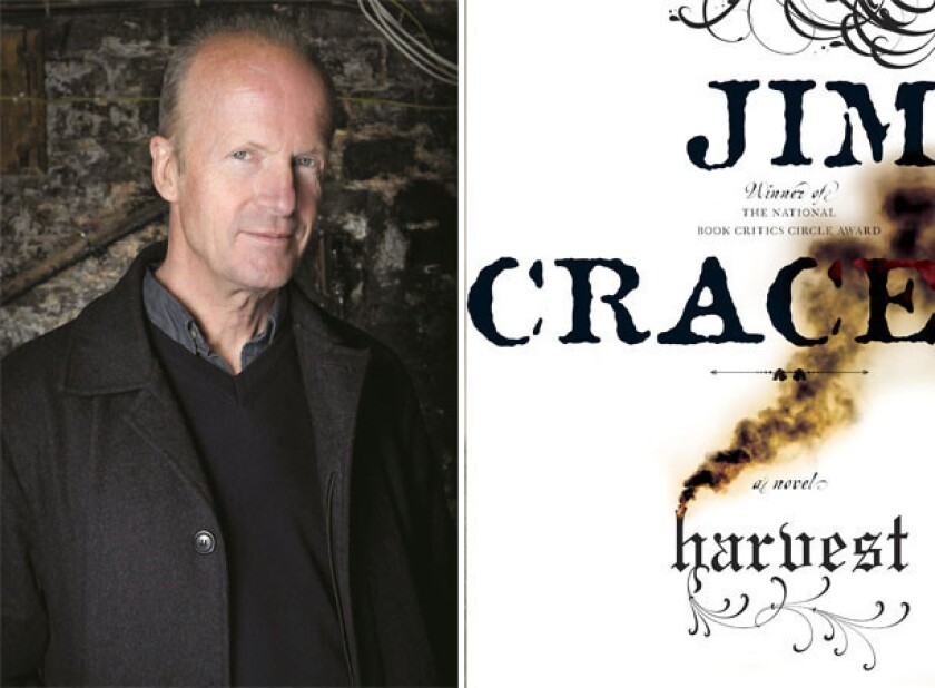 """Author Jim Crace and the cover of his novel, """"Harvest""""."""