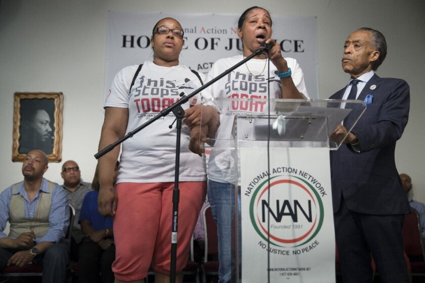 Esaw Garner, whose husband Eric died after he was allegedly placed in a chokehold by a New York City police officer, spoke out for the first time publicly on Saturday with the Rev. Al Sharpton at her side.