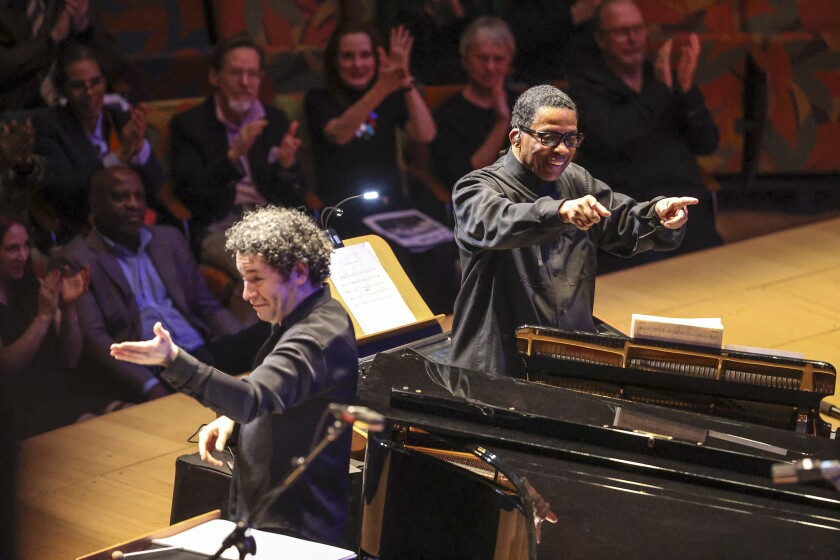 Herbie Hancock, right, and Gustavo Dudamel open the Power to the People! festival Thursday at Walt Disney Concert Hall.