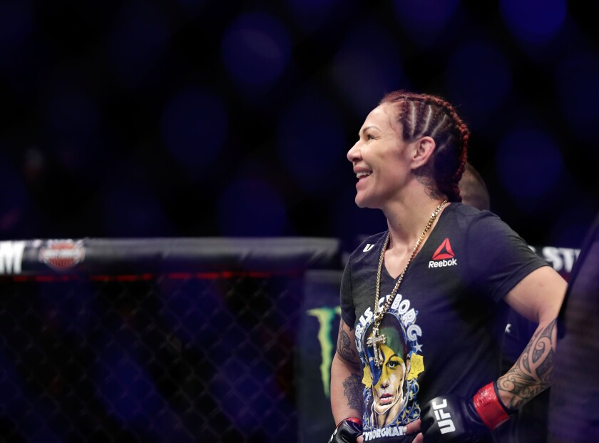 Cris Cyborg celebrates her win over Yana Kunitskaya during UFC 222 at T-Mobile Arena on March 3, 2018 in Las Vegas