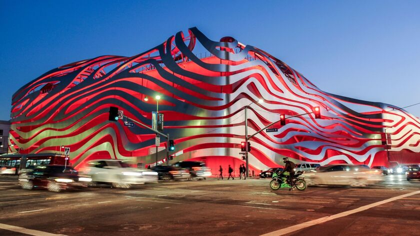 LOS ANGELES-CA-DECEMBER 1, 2015: The redesigned Petersen Automotive Museum on Wilshire Boulevard on