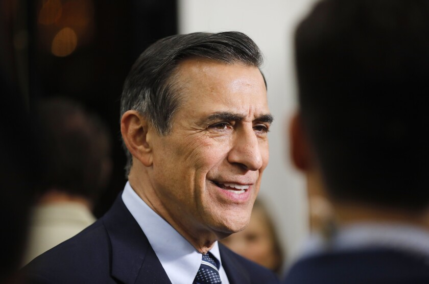 Darrell Issa, who is running for the 50th Congressional District speaks with reporters at the U.S. Grant Hotel on March 3, 2020.