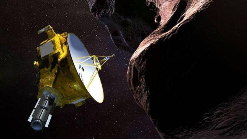 Una representación artística de la nave espacial Nuevos Horizontes de la NASA al encuentro de Ultima Thule, un objeto del Cinturón de Kuiper que orbita 1.000 millones de millas más allá de Plutón. (NASA)