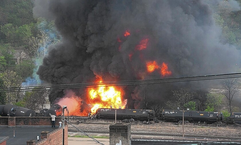 Tanker cars burn in Lynchburg, Va., after a train carrying crude oil derailed.