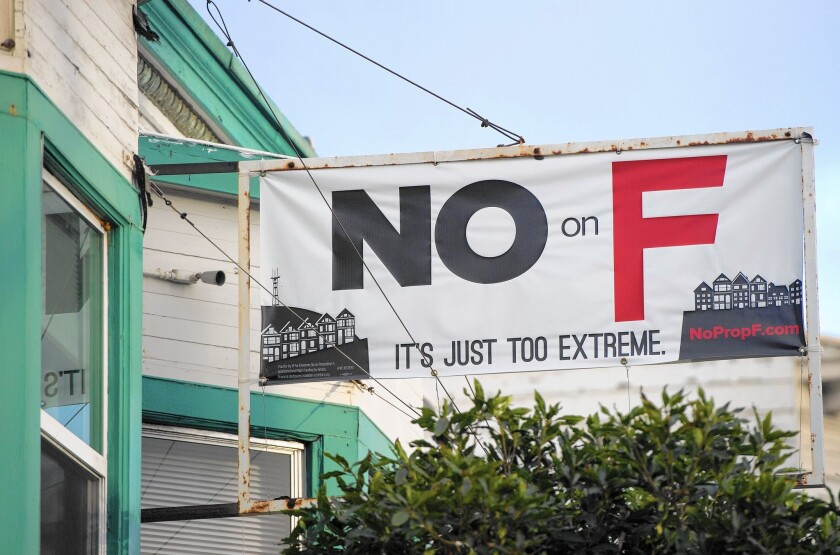 A sign showing opposition to Proposition F, which was soundly defeated by San Francisco voters on Tuesday.