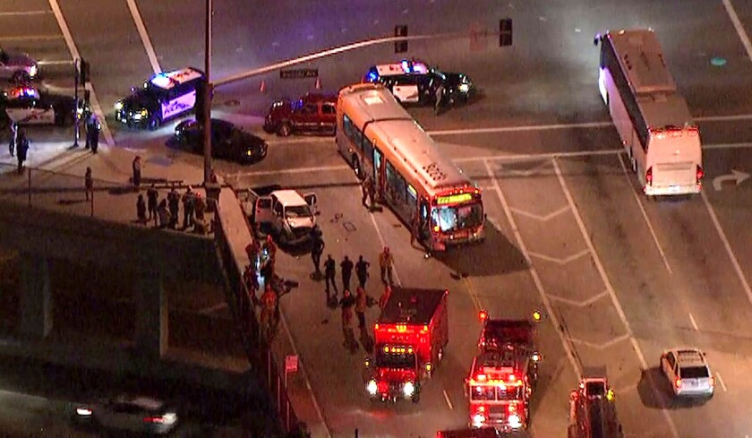 A pickup truck struck a Metro bus Monday evening near Hollywood Way and Alameda Avenue in Burbank, authorities said. Several people were injured.