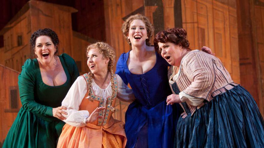 """The merry wives of Windsor in San Diego Opera's """"Falstaff,"""" from left, mezzo-soprano Kirstin Chavez (Meg Page), soprano Maureen McKay (Nannnetta), soprano Ellie Dehn (Alice Ford) and mezzo-soprano Marianne Cornetti (Mistress Quickly)."""