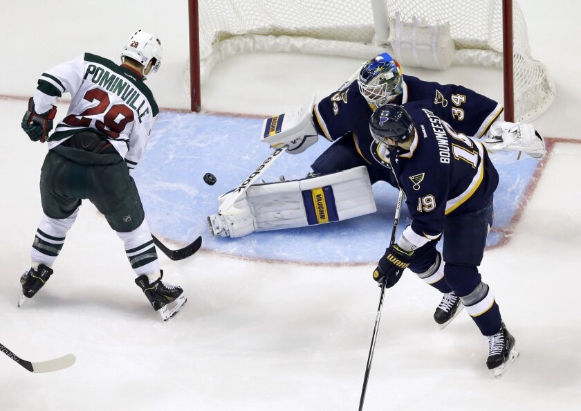 St. Louis Blues goalie Jake Allen  (34) deflects a shot from Minnesota Wild's Jason Pominville (29) as Blues' Jay Bouwmeester (19) watches during the second period of an NHL hockey game Saturday, Oct. 31, 2015, in St. Louis. (AP Photo/Jeff Roberson)