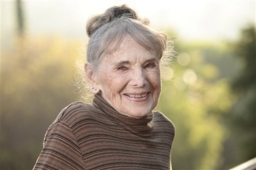 """This film image released by Music Box Films shows Besedka Johnson, in a promotional portrait for the film """"Starlet."""" Johnson, who became an actress at age 85 and won praise for last year's movie """"Starlet,"""" died on April 4 at Glendale Memorial Hospital of complications following surgery for a bacterial infection, her son, Jim Johnson, told the Los Angeles Times. Besedka Johnson played the cranky widow Sadie, who befriends a character played by Dree Hemingway in last year's movie. It was her only"""