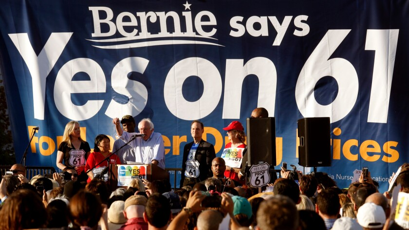 Bernie Sanders (I-Vt.) at a rally for California's Proposition 61, a failed drug-pricing initiative he backed.