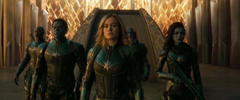 Korath (Djimon Hounsou), Att-Lass (Algenis Perez Soto), Carol Danvers/Captain Marvel (Brie Larson), Bron-Char (Rune Temte) y Minn-Erva (Gemma Chan) en una escena de la nueva cinta.