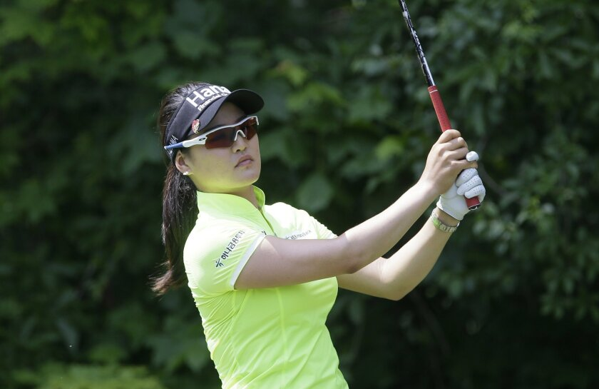 So Yeon Ryu, of South Korea, hits from the seventh tee during the third round of the LPGA Volvik Championship golf tournament at the Travis Pointe Country Club, Saturday, May 28, 2016, in Ann Arbor, Mich. (AP Photo/Carlos Osorio)
