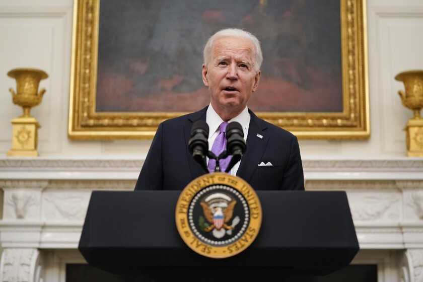 President Joe Biden speaks about the coronavirus at the White House, Thursday, Jan. 21, 2021, in Washington.