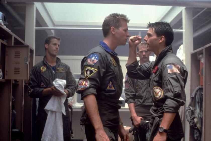 """A scene from """"Top Gun"""" in which Iceman (Val Kilmer, left) confronts Maverick (Tom Cruise)."""