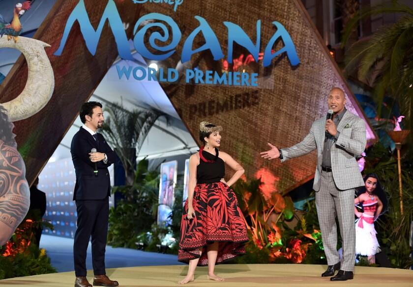 "Onstage at Hollywood's El Capitan Theatre for the Nov. 14 world premiere of Disney's ""Moana,"" from left, Lin-Manuel Miranda, Auli'i Cravalho and Dwayne Johnson."