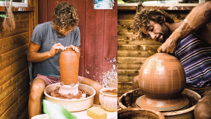 Skoby Joe works on a custom ceramic pieces.