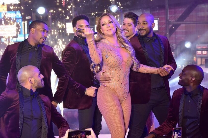 Mariah Carey performs during the New Year's Eve Countdown at Times Square.