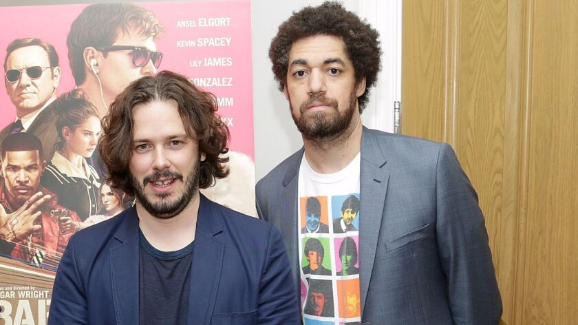 """Director Edgar Wright, left, and Danger Mouse at a New York screening of """"Baby Driver"""" hosted by Azi"""