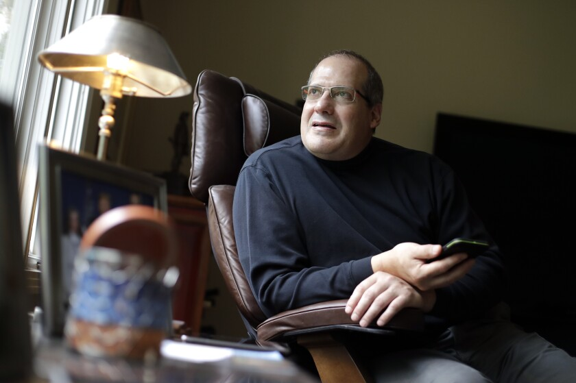 This Oct. 28, 2019, photo, shows David Dell'Aquila in his home Monday, Oct. 28, 2019, in Nashville, Tenn. Dell'Aquila is a donor to the NRA who is now suing the gun lobby, alleging misspent funds and donations. (AP Photo/Mark Humphrey)