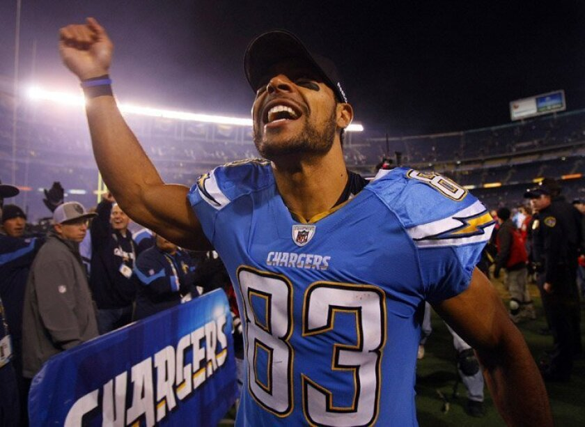 Chargers Vincent Jackson celebrates after a win against the 49ers on Thursday, Dec. 16, 2010.