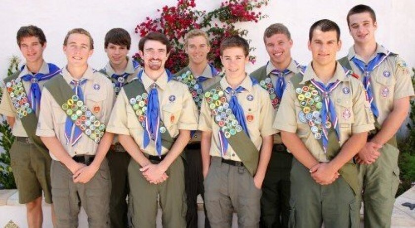Troop 766 recently hosted a court of honor for nine Eagle Scouts: from left, Jack Hanlon, Nick Stiker, Peter Kuntz, DJ Magee, Tanner Stiker, Christian Stiker, Miles Ahles, Jonas Neichin and Will Shepherd. Photo: Jon Clark