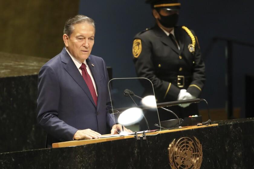El presidente de Panamá, Laurentino Cortizo, habla ante la Asamblea General de Naciones Unidas el jueves 23 de septiembre del 2021. (Spencer Platt/Pool Photo via AP)