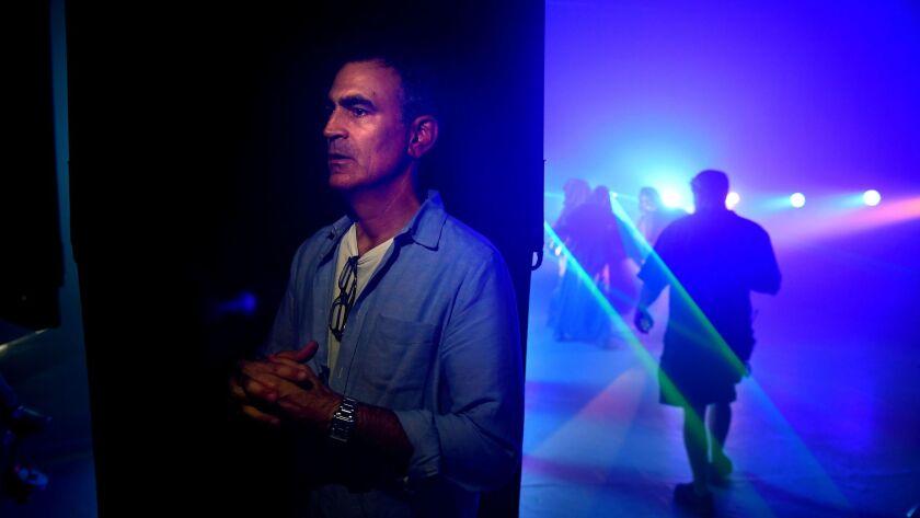 "Mark Ciglar, founder of Cinevative, works on a theater trailer for ""MacBeth"" at the Mack Sennett studios in Los Angeles."