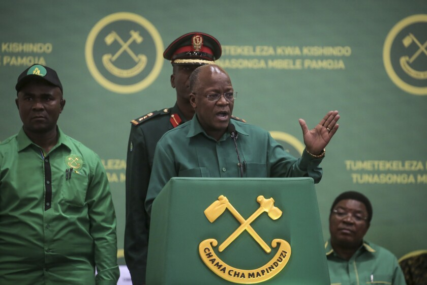 FILE - In this July 11, 2020 file photo, Tanzania's President John Magufuli speaks at the national congress of his ruling Chama cha Mapinduzi (CCM) party in Dodoma, Tanzania. Opposition politicians on Wednesday March 10 2021, are raising questions about the health of Tanzania's COVID-19-denying president John Magufuli, as he has not been seen in public for more than a week and there has been no responce to questions from The Associated Press about Magufuli's health and whereabouts. (AP Photo, File)