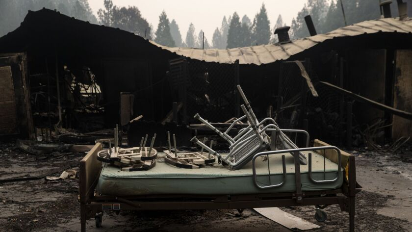 The ruins of the Cypress Meadows Post-Acute skilled nursing facility in Paradise, Calif.