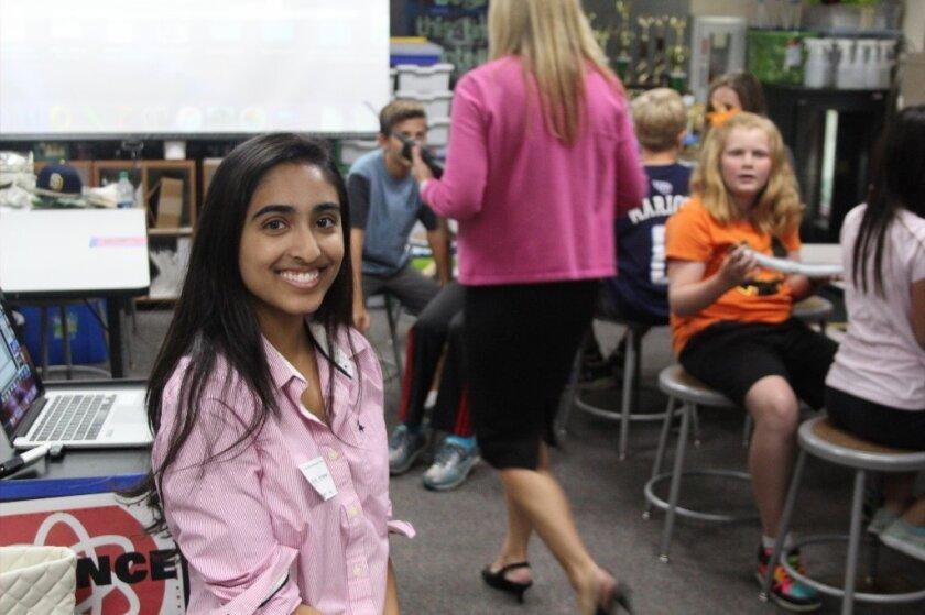 Nikita Krishnan, founder of Creature Comfort and Care, at Torrey Hills School.
