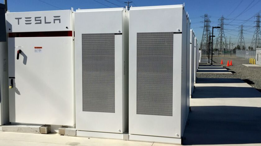California regulators want Pacific Gas and Electric Co. to replace natural gas facilities with an energy storage system such as this Tesla battery bank in Ontario. The bank was installed in three months.