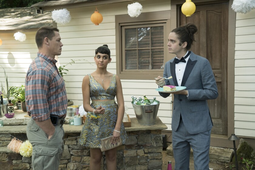"(L to R) Mitchell (JOHN CENA), Kayla (GERALDINE VISWANATHAN) and Connor (MILES ROBBINS) in ""Blockers,"" the directorial debut of Kay Cannon (writer of the ""Pitch Perfect"" series)."