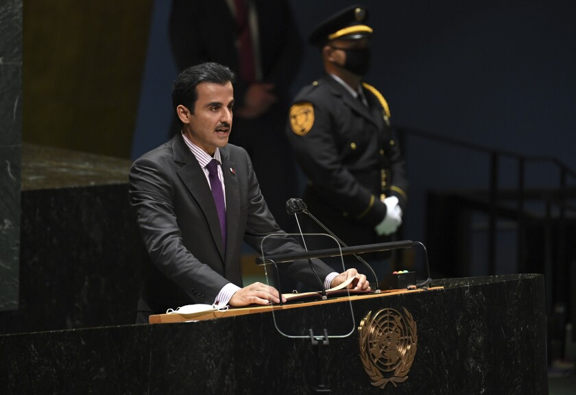 Sheikh Tamim bin Hamad Al Thani, Amir, of Qatar addresses the 76th Session of the U.N. General Assembly at United Nations headquarters in New York, on Tuesday, Sept. 21, 2021. (Timothy A. Clary/Pool Photo via AP)