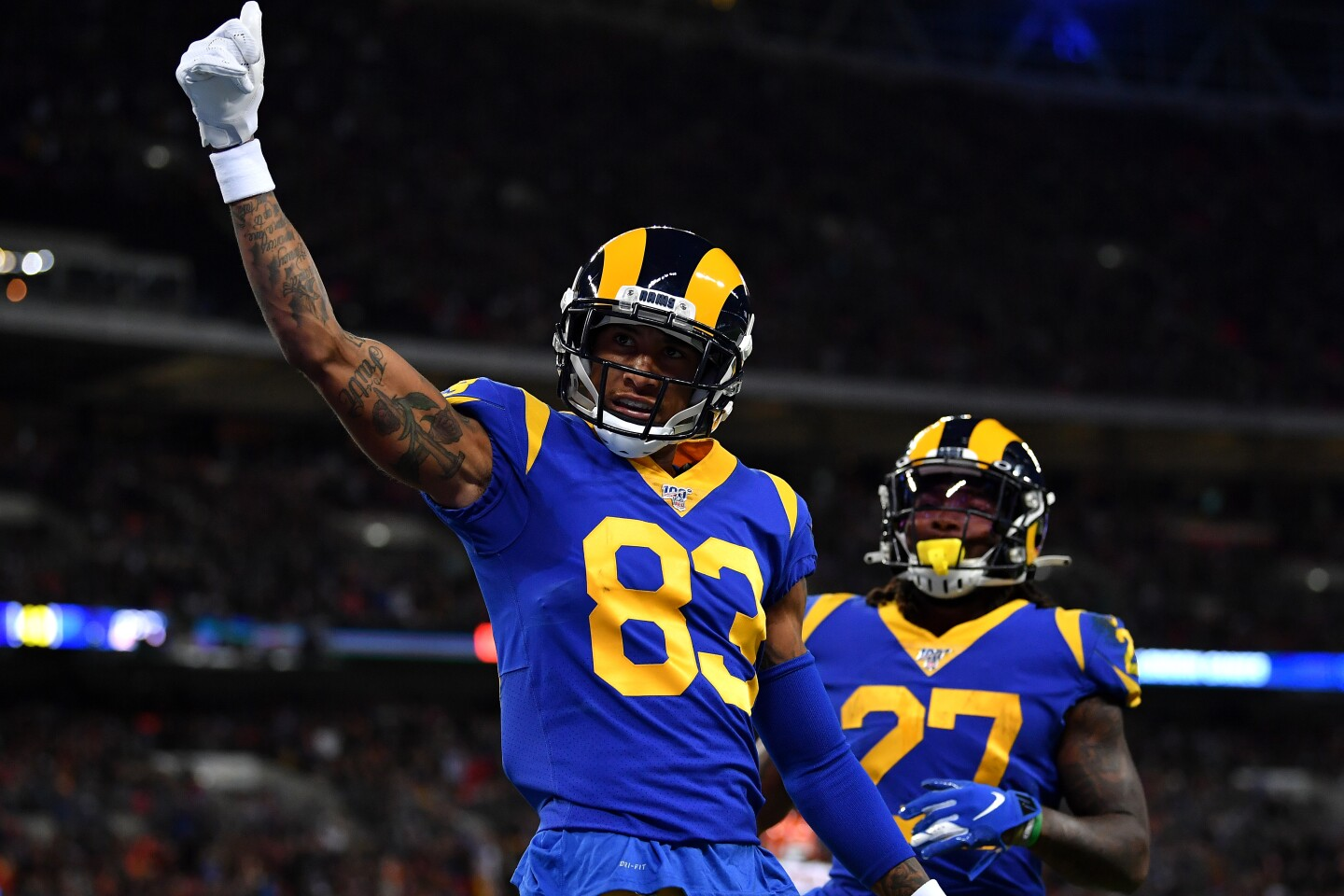 LONDON, ENGLAND - OCTOBER 27: Josh Reynolds #83 of the Los Angeles Rams celebrates scoring a touch down during the NFL London Games series match between the Cincinnati Bengals and the Los Angeles Rams at Wembley Stadium on October 27, 2019 in London, England. (Photo by Justin Setterfield/Getty Images)